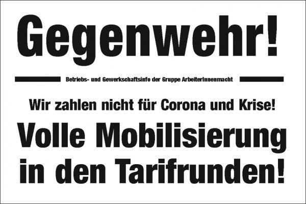 Wir zahlen nicht für Corona und Krise! Volle Mobilisierung in den Tarifrunden!
